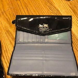 Coach wallet blue leather